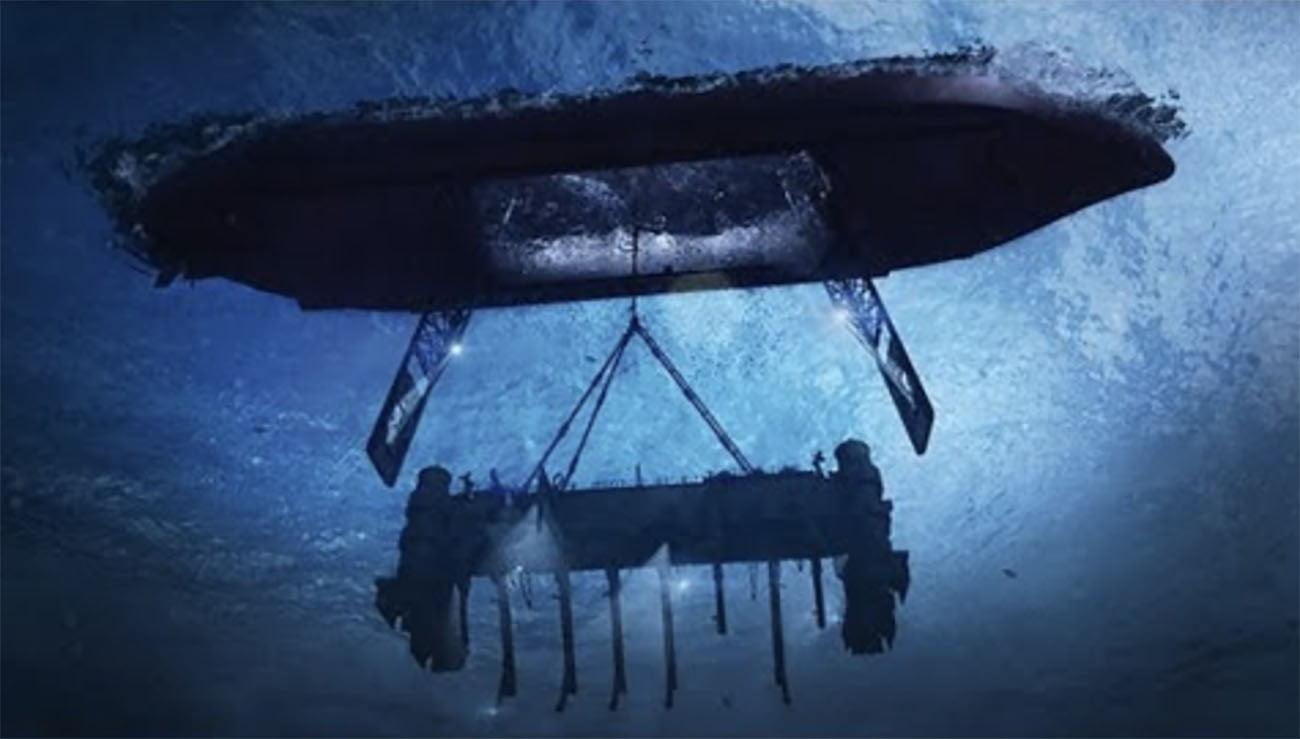 Ilustração mostra resgate de submarino russo pela Cia