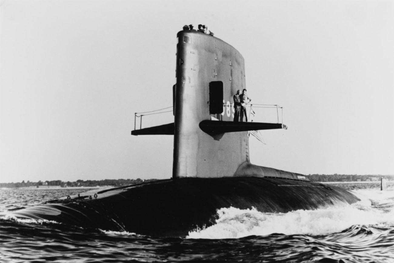 Imagem do submarino USS Scorpion que afundou nos Açores