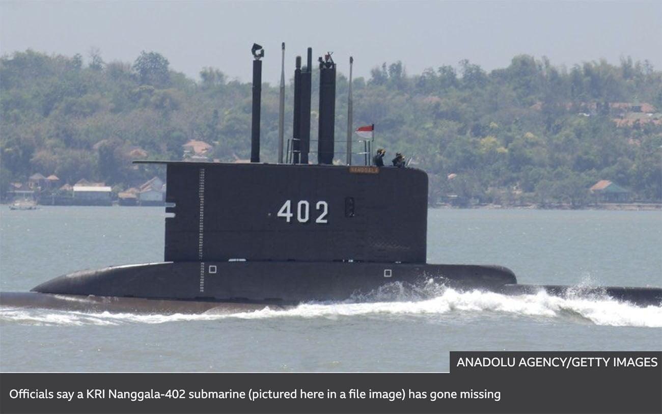 Imagem de submarino da Indonésia desaparecido
