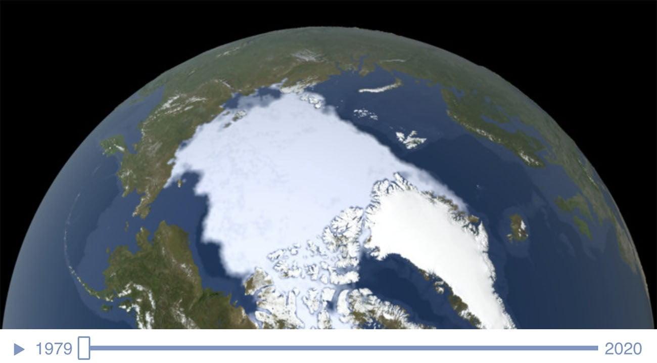 Gráfico da NASA mostra o gelo do Ártico em 1979