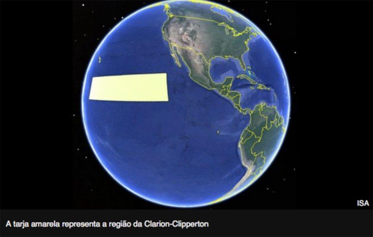 Mapa mostra área Clarion_clipperton rica em jazidas minerais