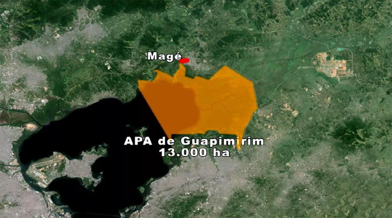 Mapa com localização da APA de Guapimirim