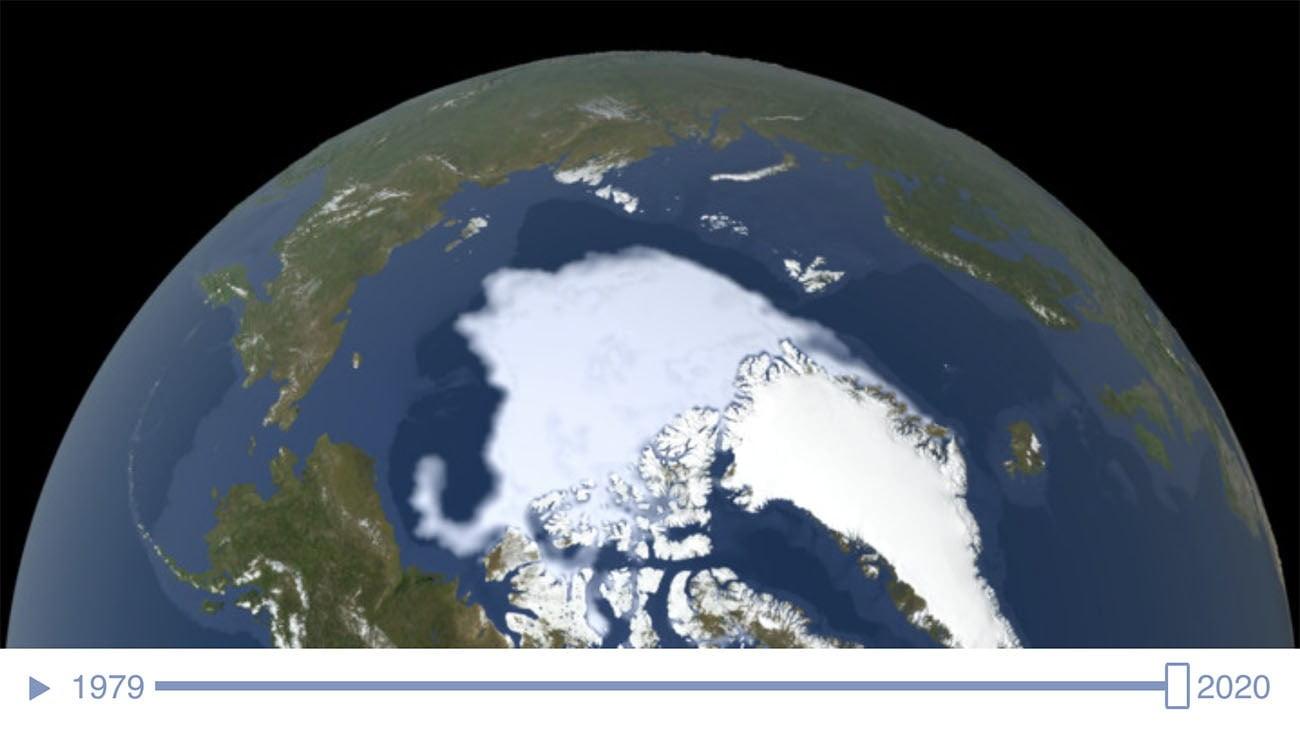 Imagem da calota polar do Ártico em 2020
