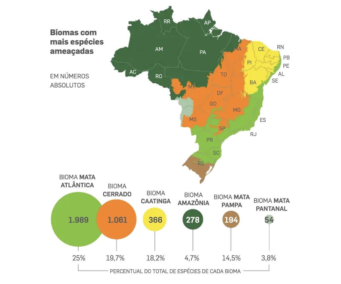 Infográfico mostra espécies amaçadas nos biomas brasileiros