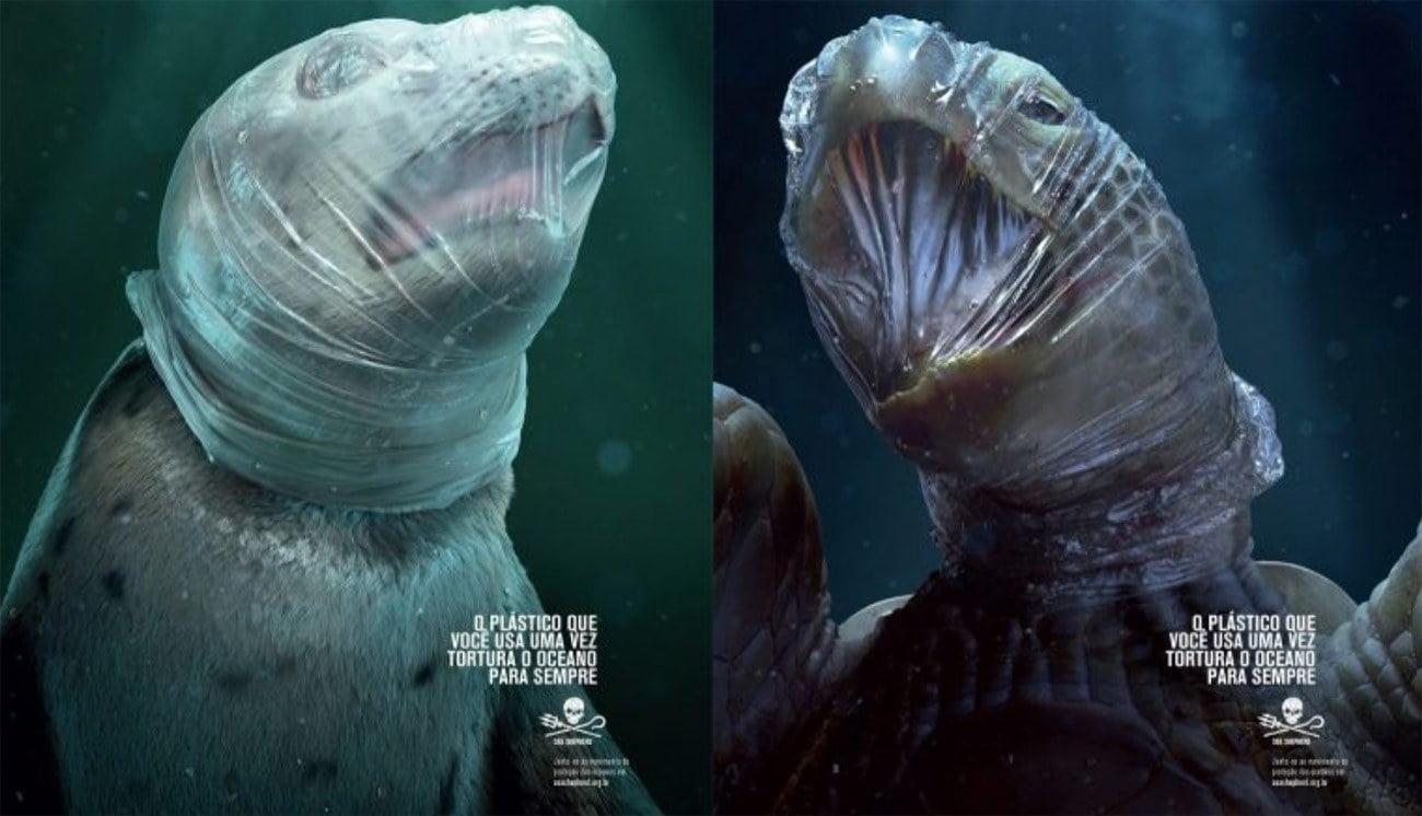 Imagem de campanha contra o plástico de uso único