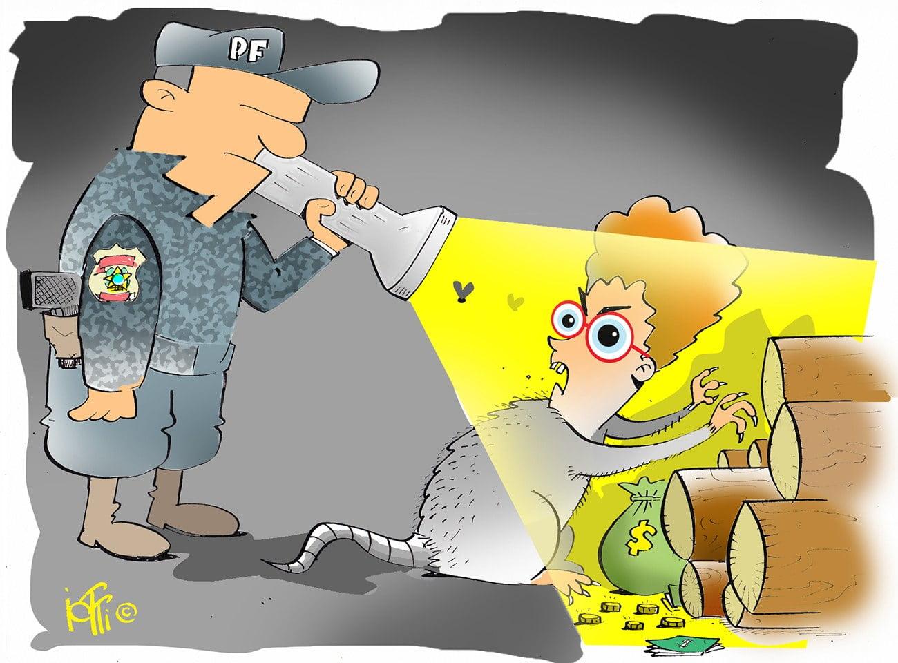 Ilustração de Ricardo Salles como alvo da polícia federal
