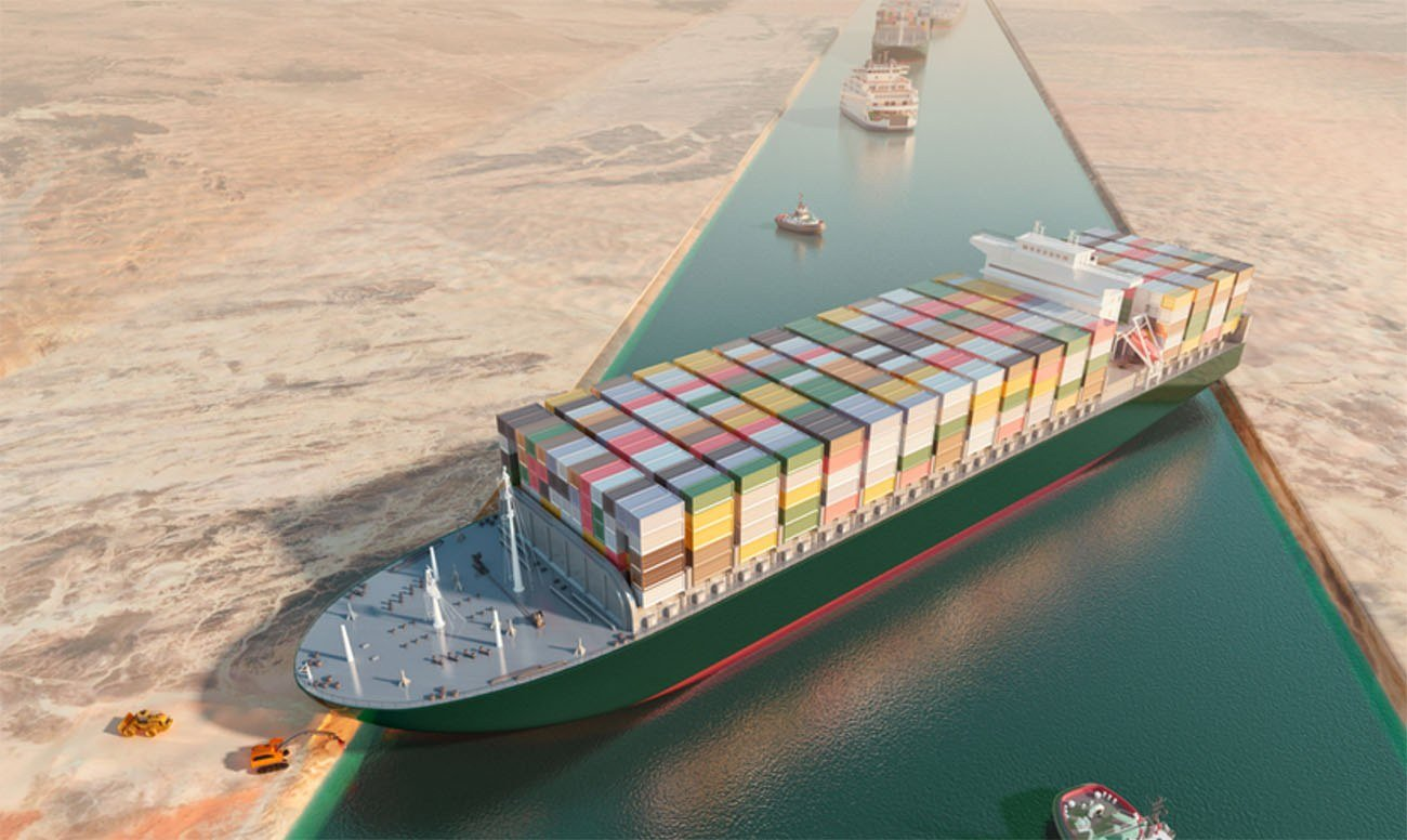 Imagem do navio Ever Given bloqueando o canal de Suez