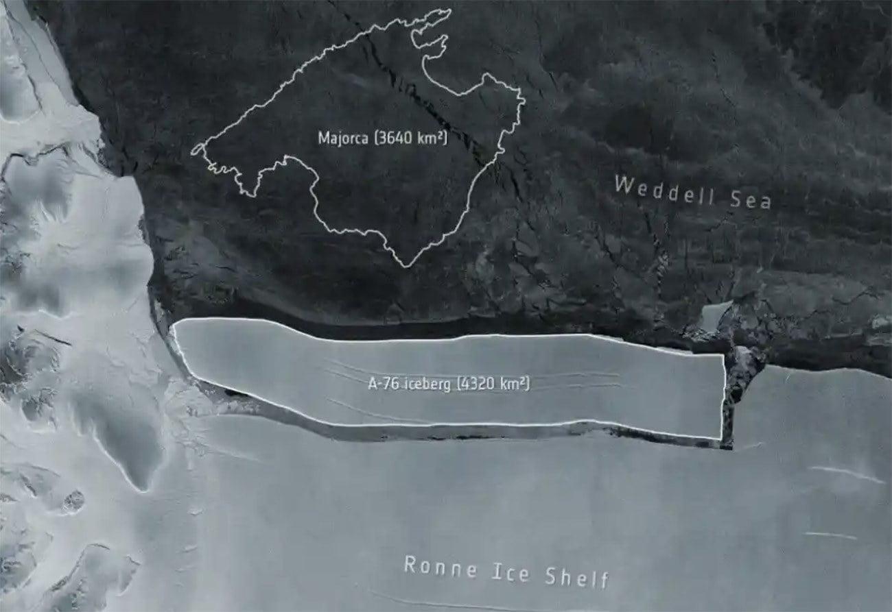 Imagem do maior iceberg do mundo