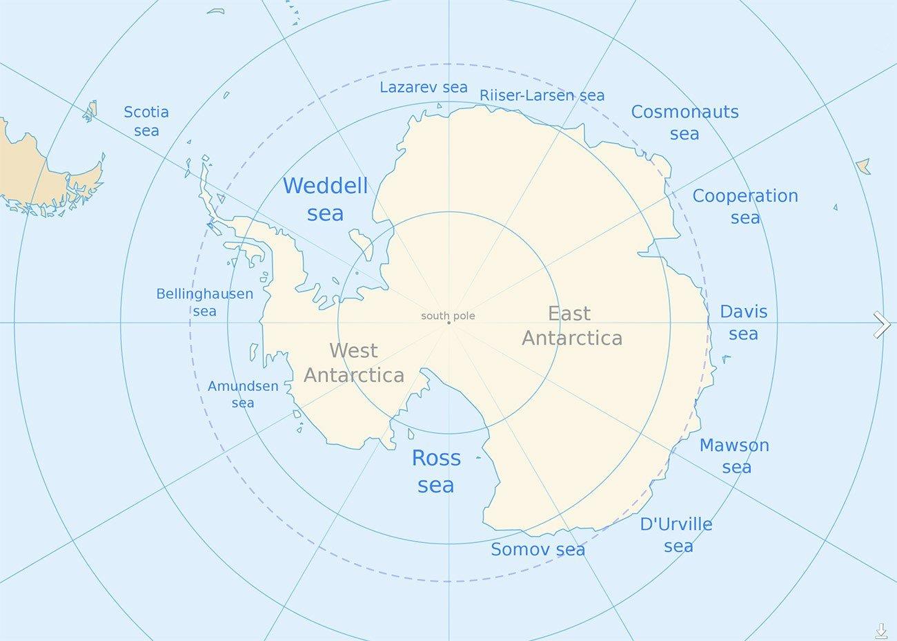 imagem de mapa do mar de Weddell, na Antártica