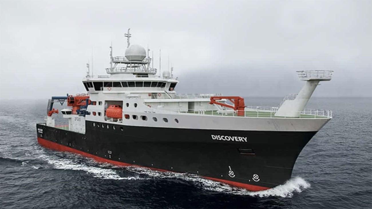 Imagem do navio Discovery que trabalhou com a USP na descoberta de jazidas minerais