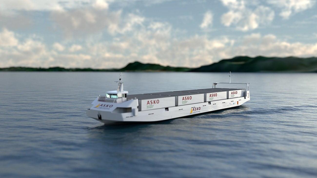 Imagem de navio elétrico na Noruega