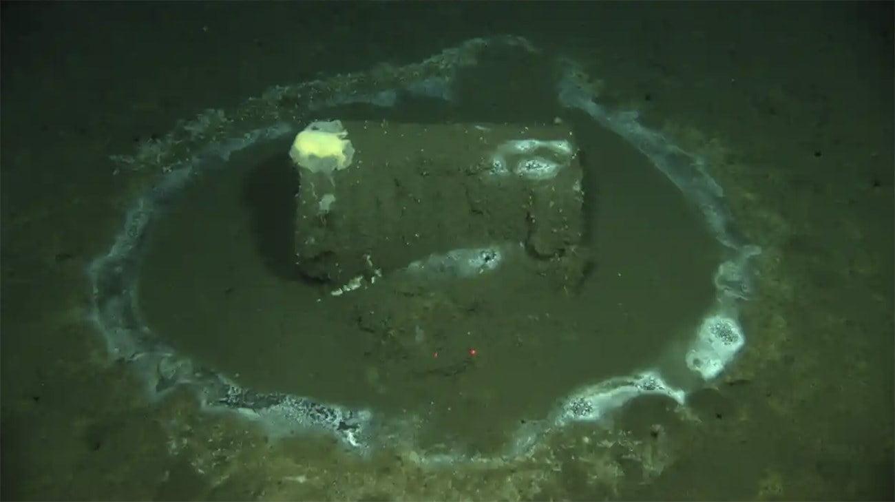 Imagem de barril de DDT no fundo do mar fruto de desastre ambiental