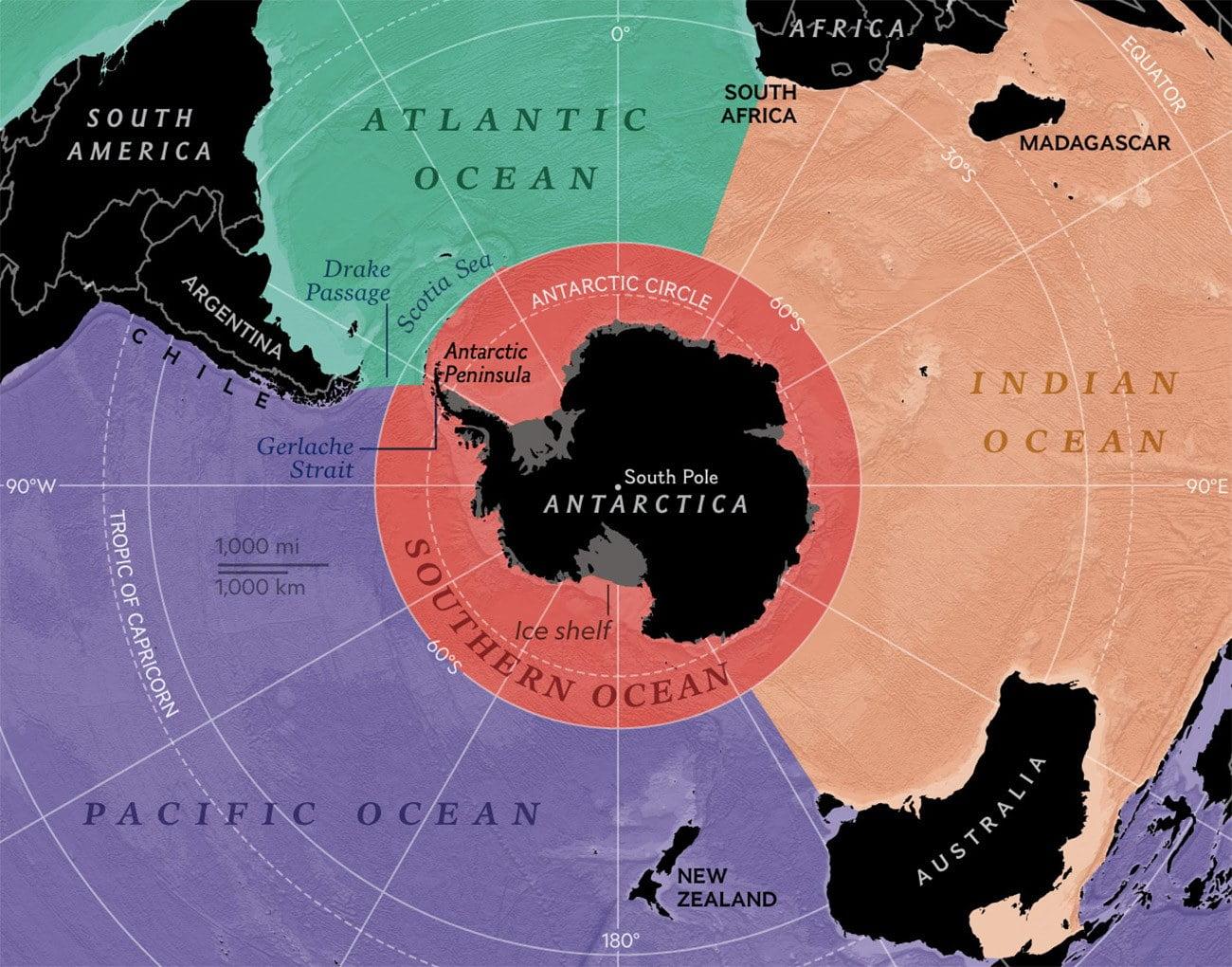 Ilustração mostra os oceanos