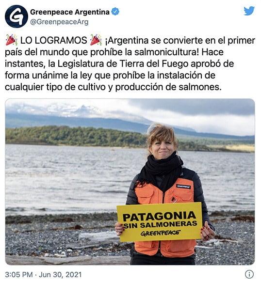 Imagem de protesto contra criação de salmão