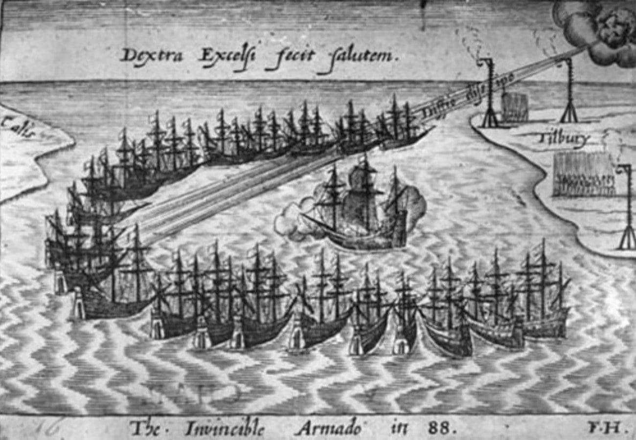 Gravura mostra a Invencível Armada