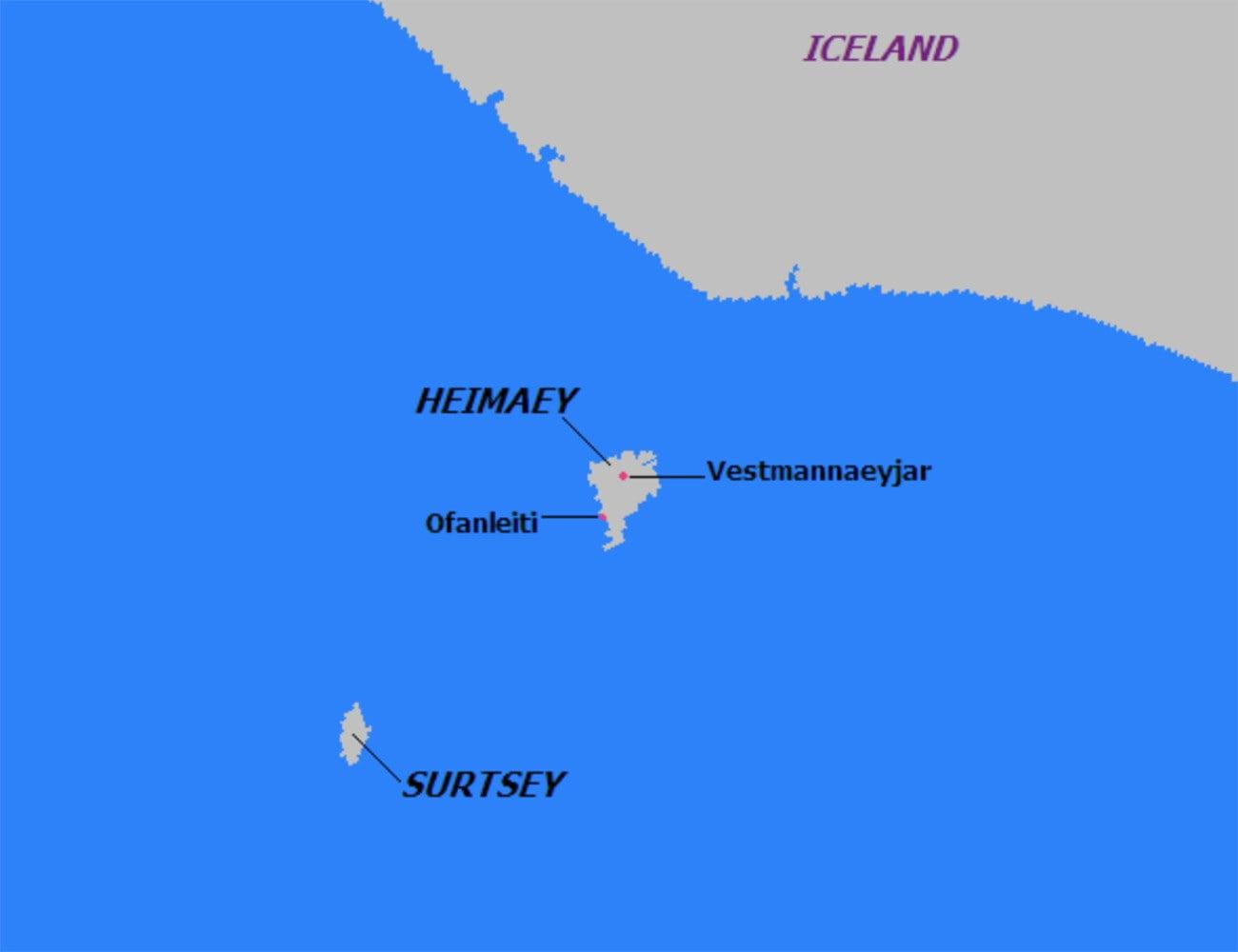 Mapa de localização da ilha Surtsey