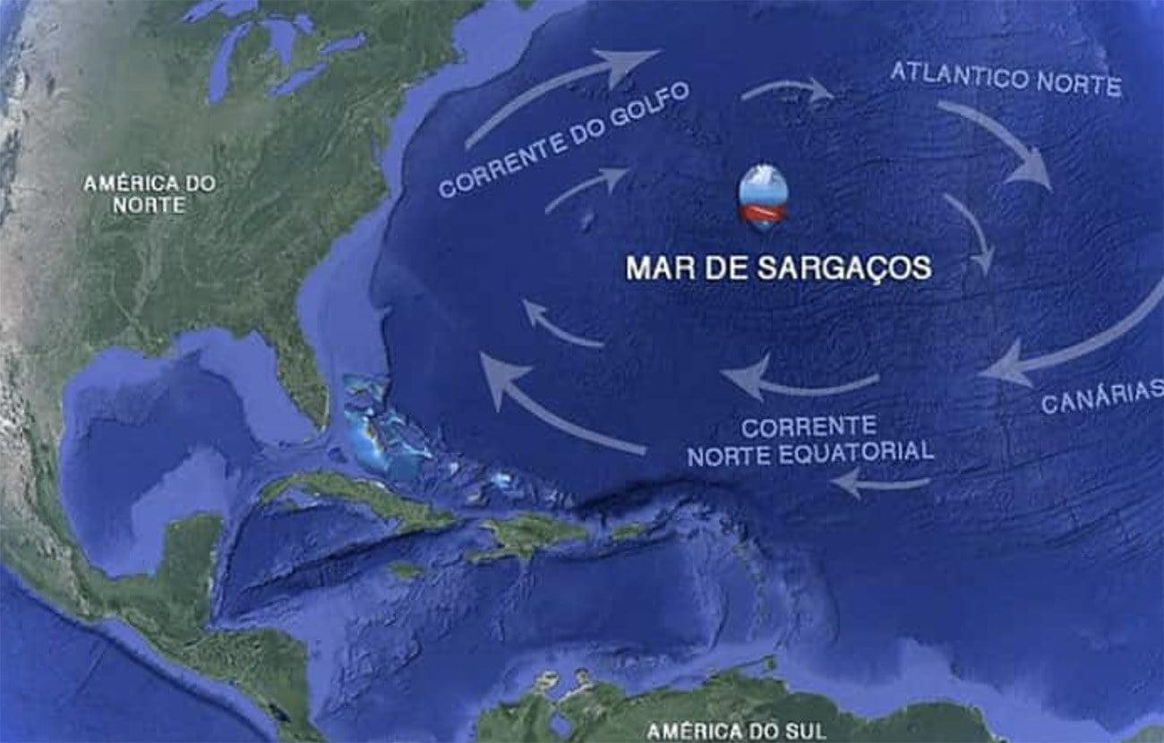 Mapa da localização do mar de sargaços
