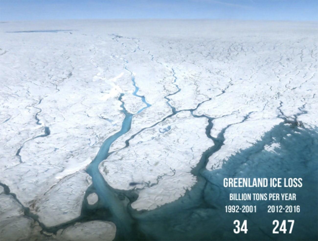 Imagem de perda de gelo na Groenlândia