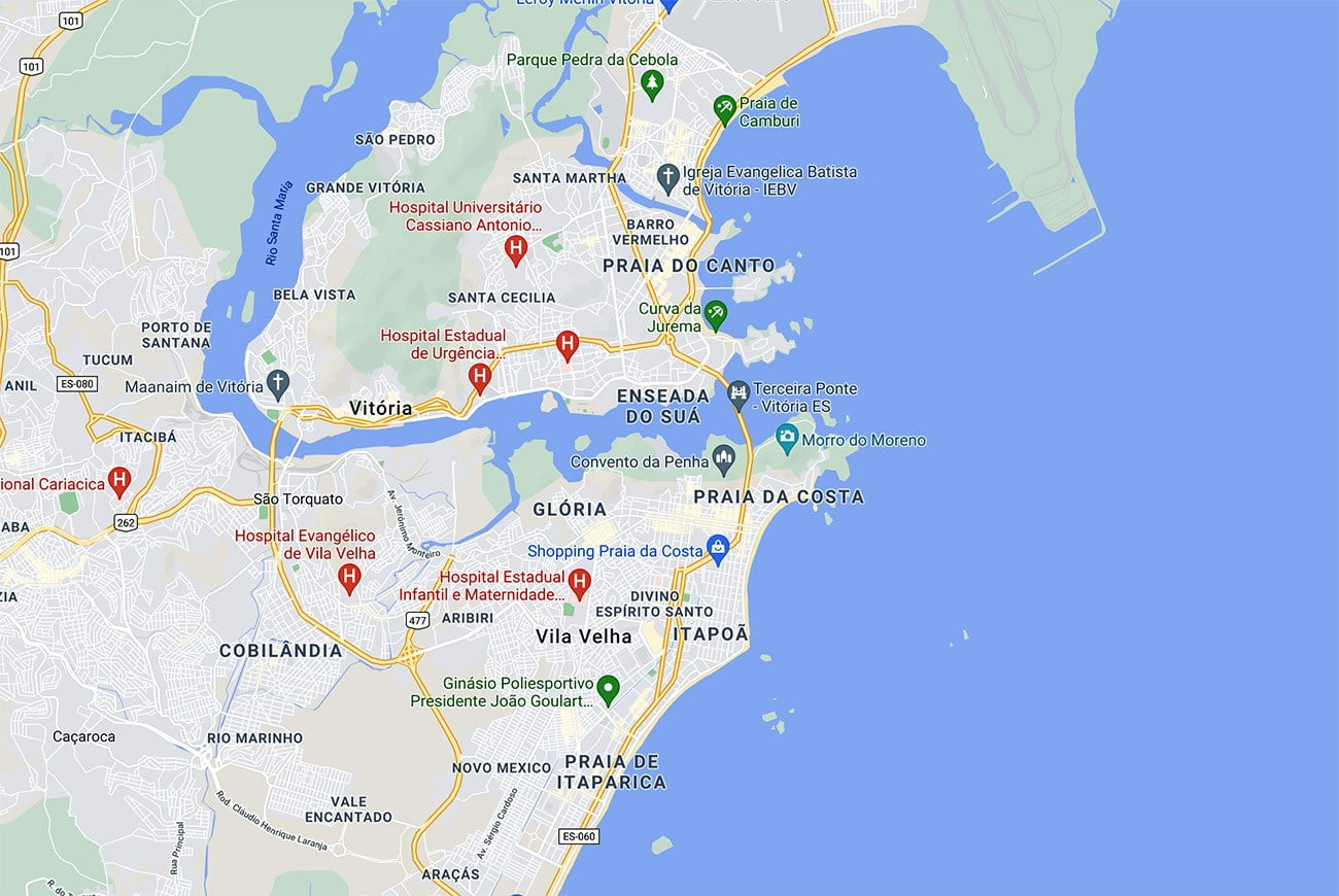 Mapa mostra localização da praia da Costa, Espírito Santo.