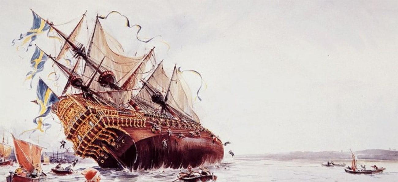 Imagem dependura do navio Vasa adernando