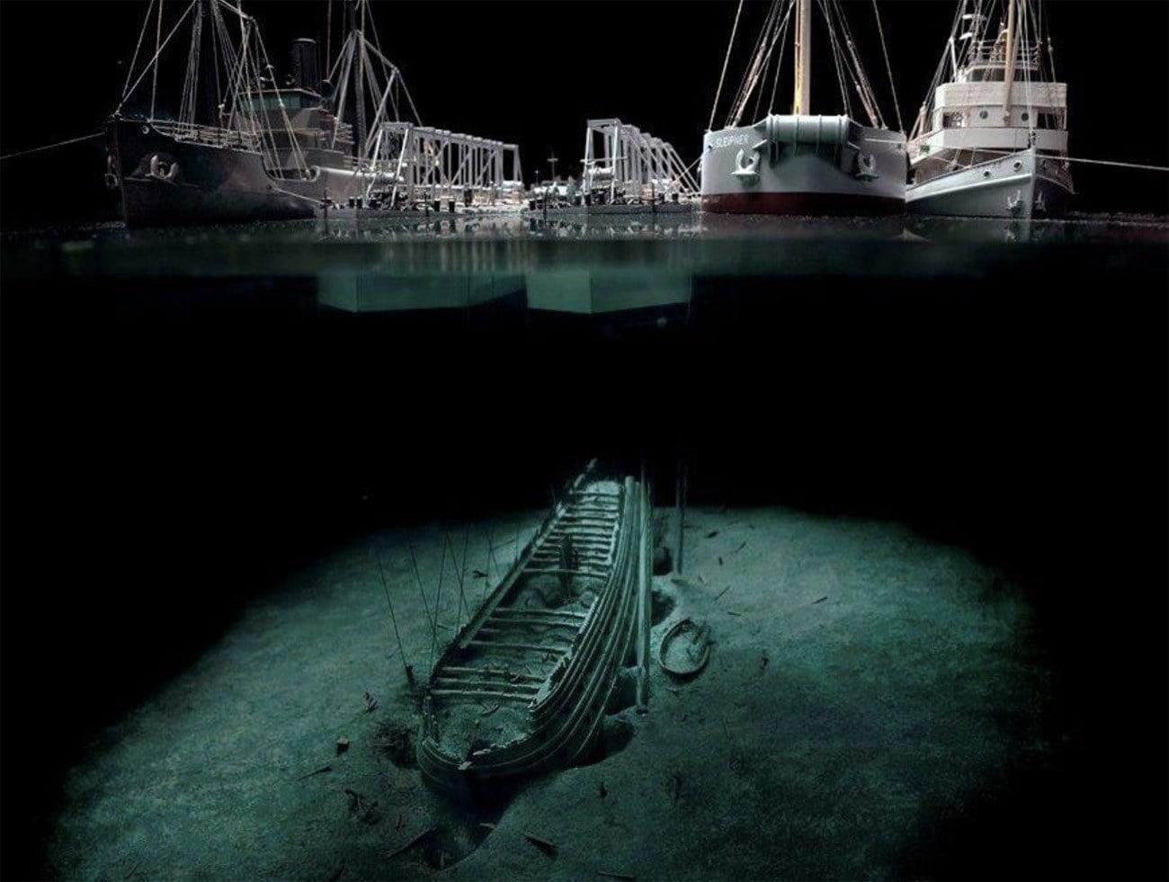 Imagem do navio Vasa debaixo d'água