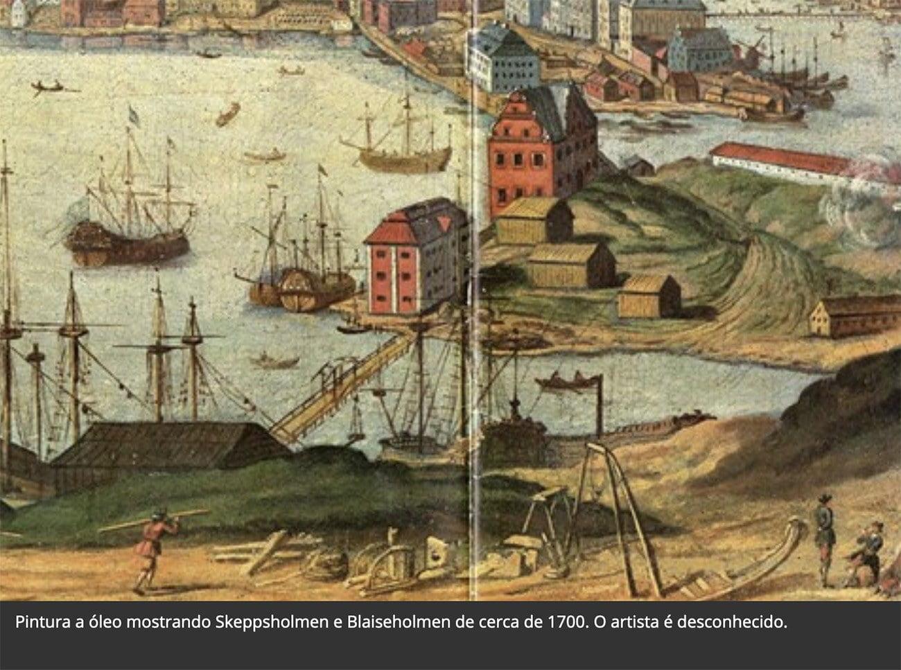 Imagem do estaleiro onde foi construído o navio Vasa