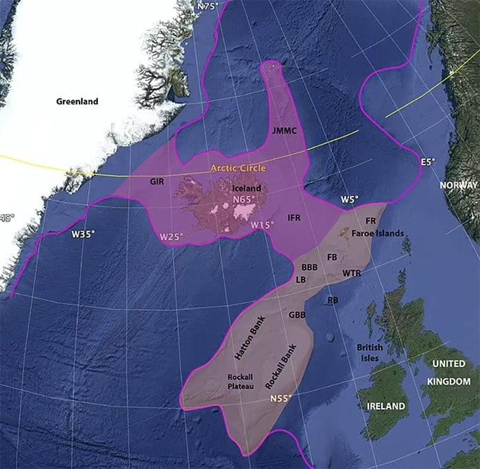 Ilustração da Islândia continente