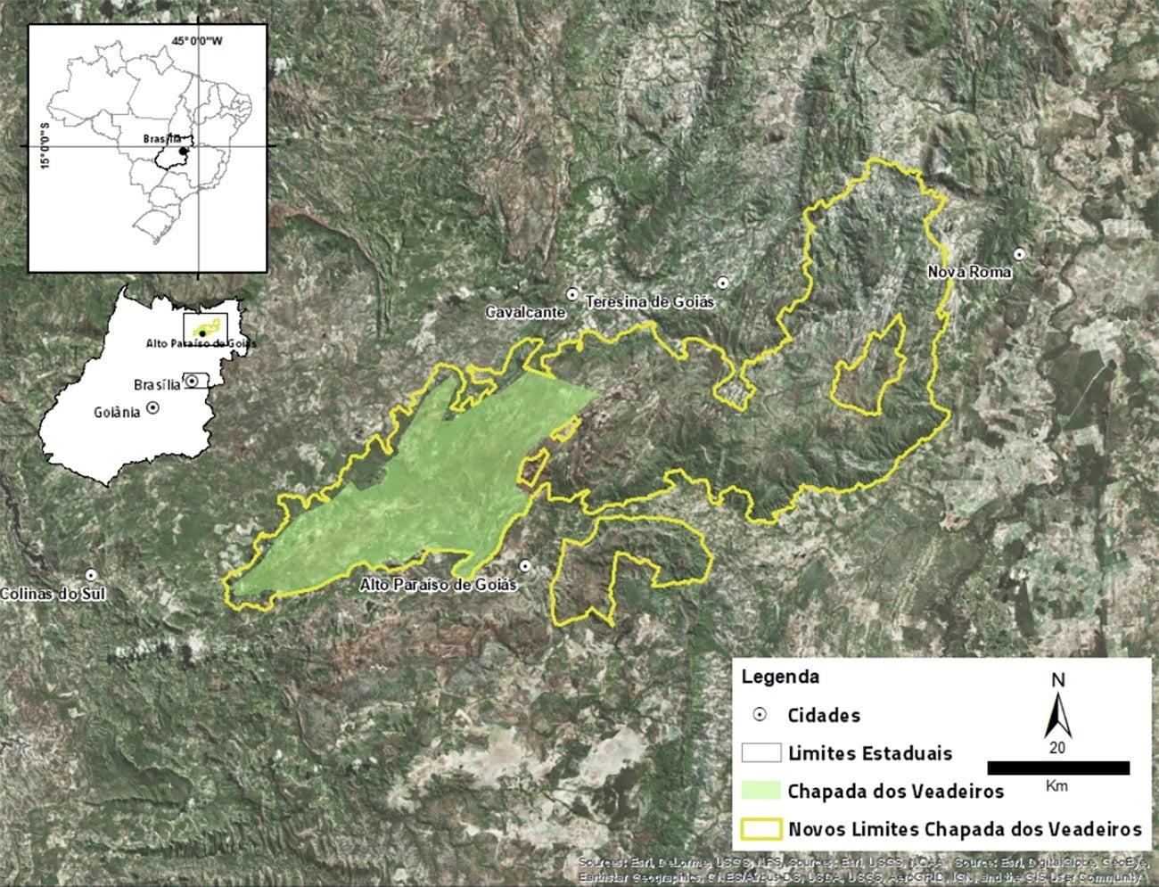 mapa mostra ampliação do Parna da Chapada dos Veadeiros