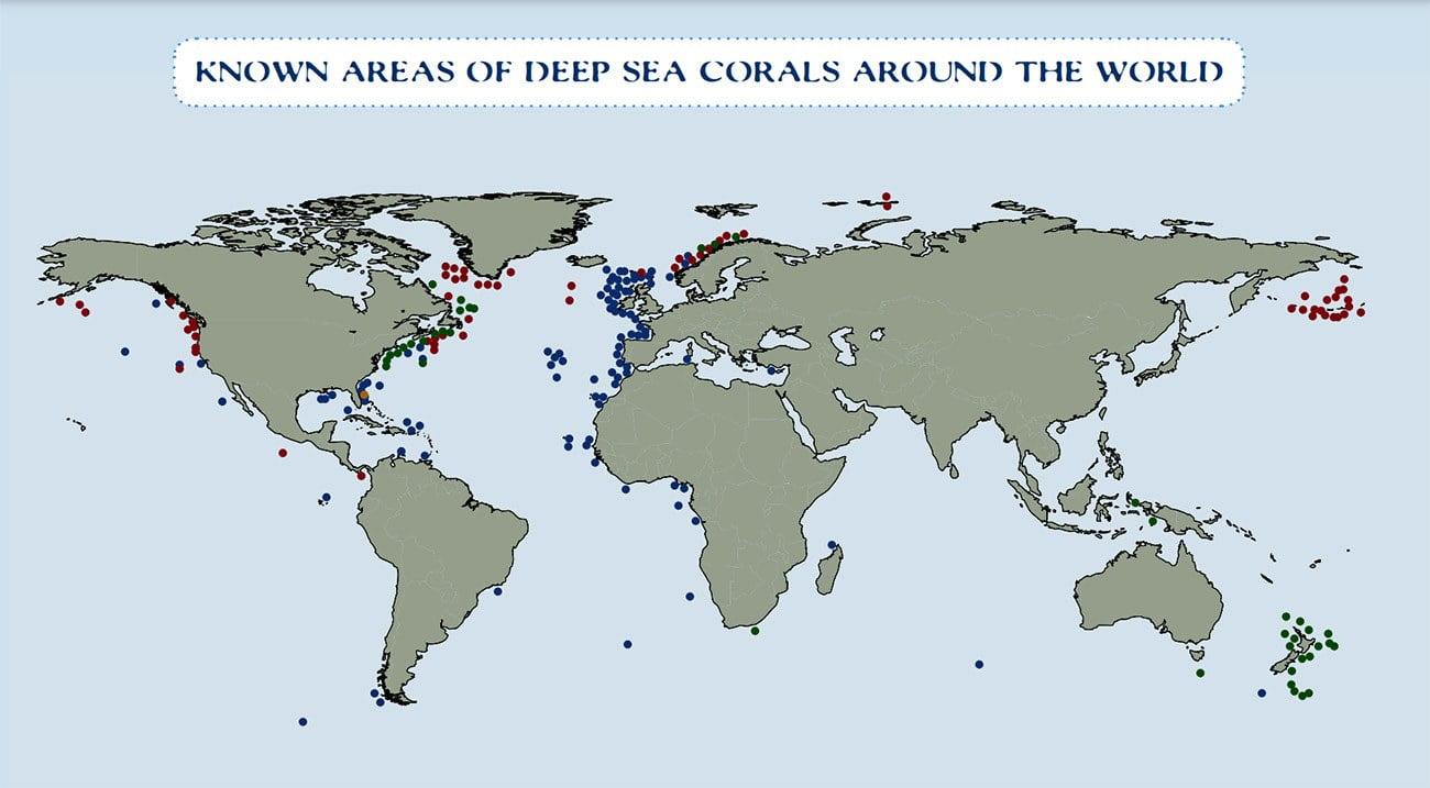 imagem de mapa de corais profundos no planeta
