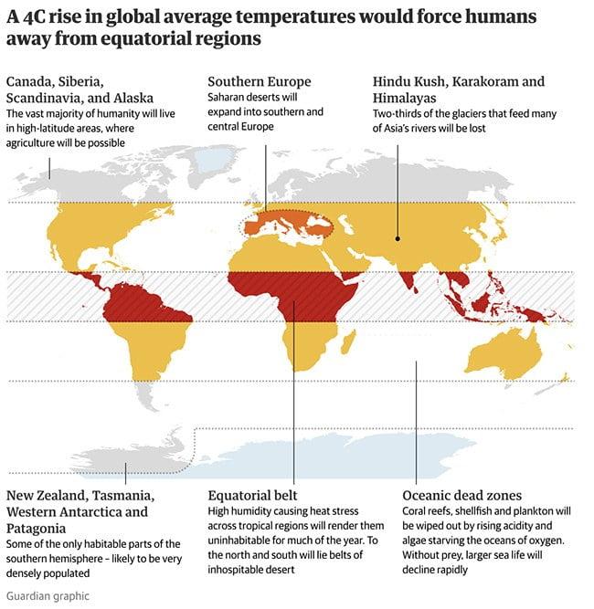 Infográfico mostra regiões tropicais com aumento de temperatura