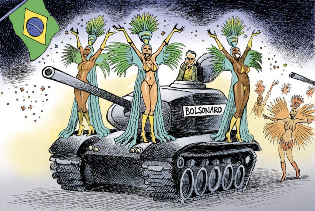 Ilustração mostra Bolsonaro em tanque de guerra