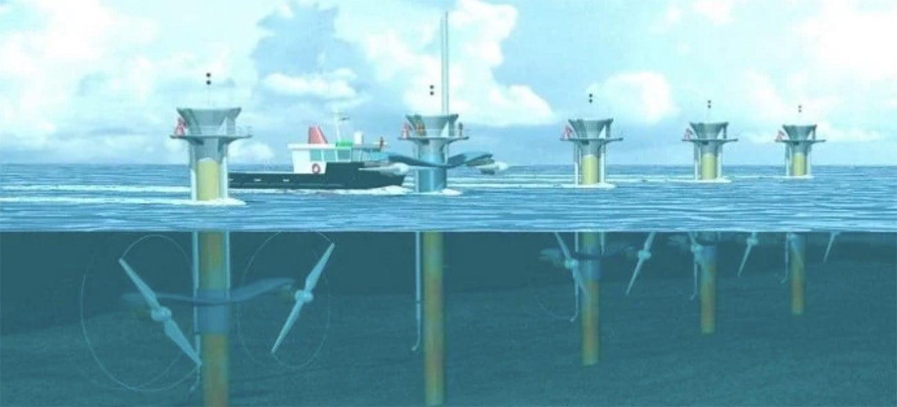 Ilustração mostra turbinas no mar para energia de ondas e marés