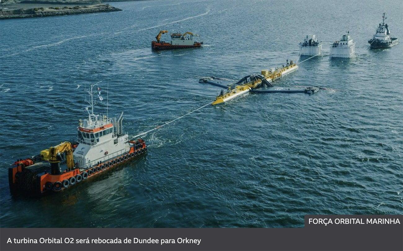 Imagem de usina de maré no mar