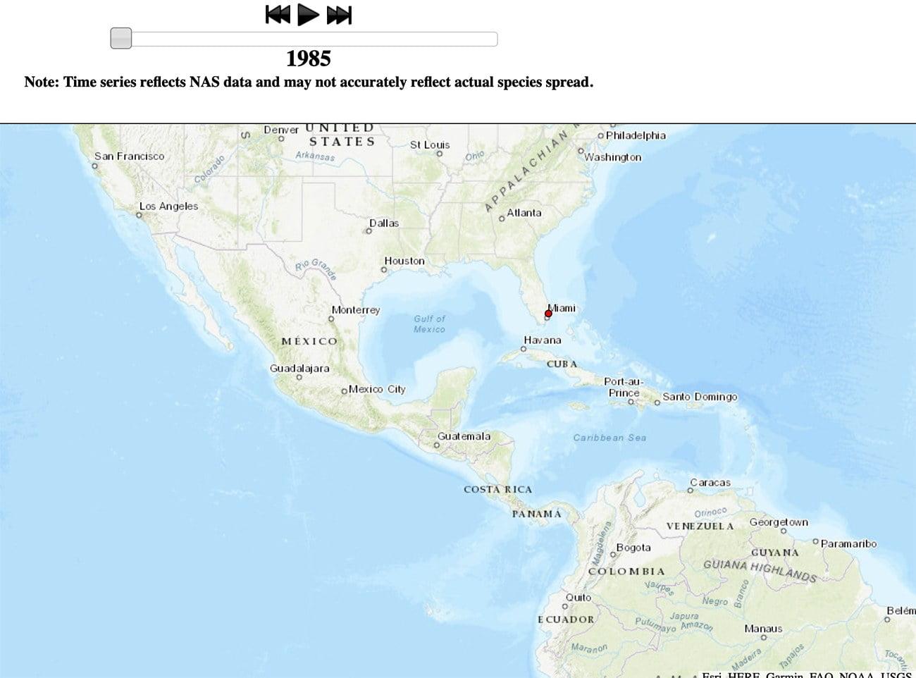 Mapa mostra chegada do peixe-leão no Caribe