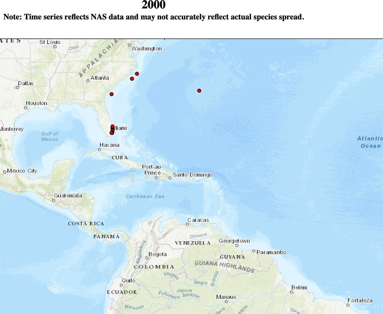 mapa mostra dispersão do peixe-leão no Caribe no ano 2000.