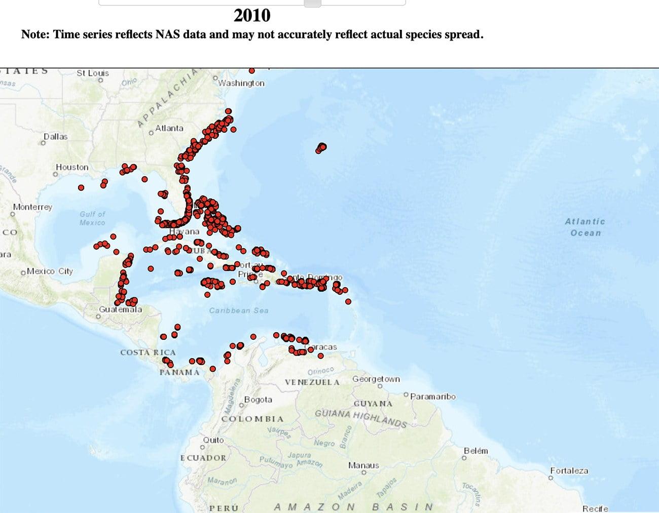 mapa mostra dispersão do peixe-leão em 2010