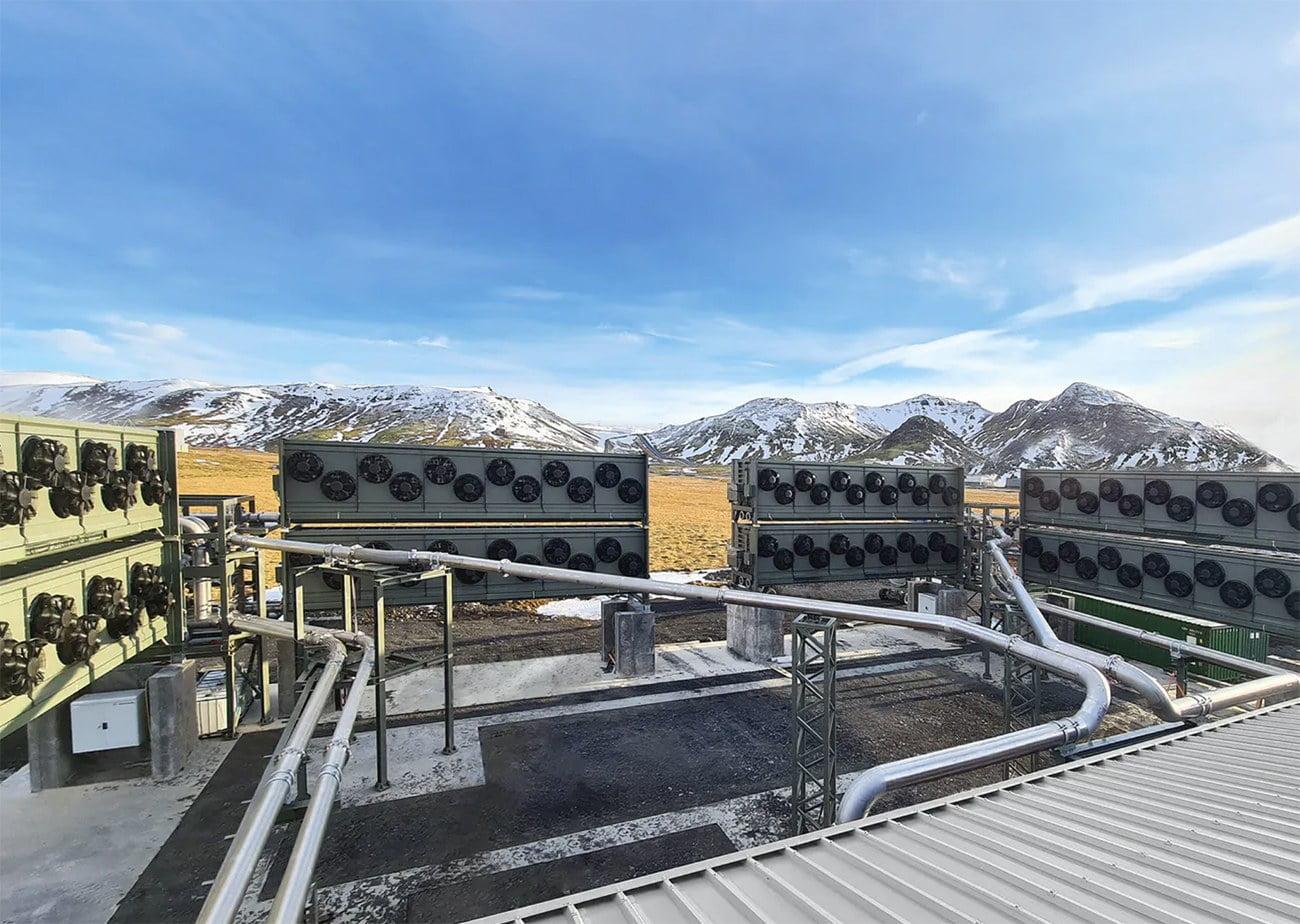 imagem de usina para capturar co2 na Islândia