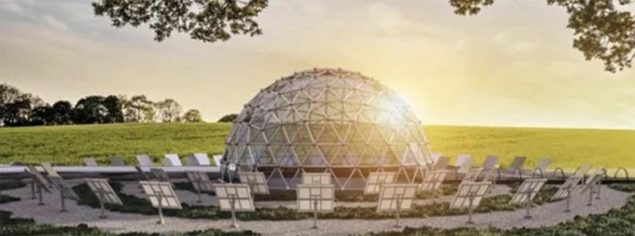 Ilustração de usina de domo solar