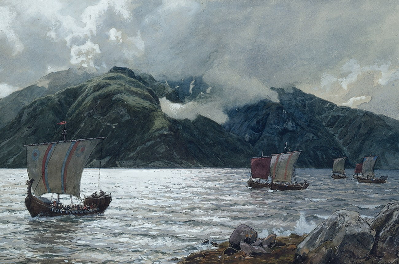 Gravura de barcos Vikings